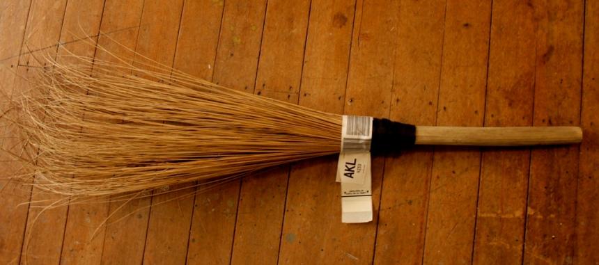 Fijian sasa broom at Margaret Aull's studio, Te Awamutu
