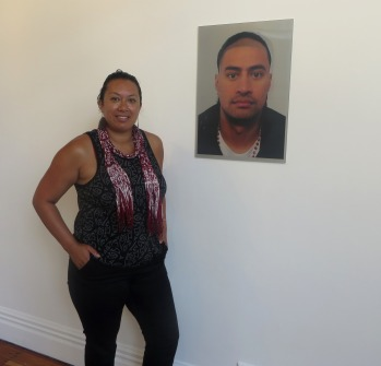 "Leilani Kake with her work, ""MALE: Maori or Polynesian"" (2014), photo by Ema Tavola"