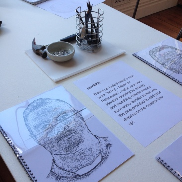 "Drawing activity, ""MALE: Maori or Polynesian"" (2014) by Leilani Kake"