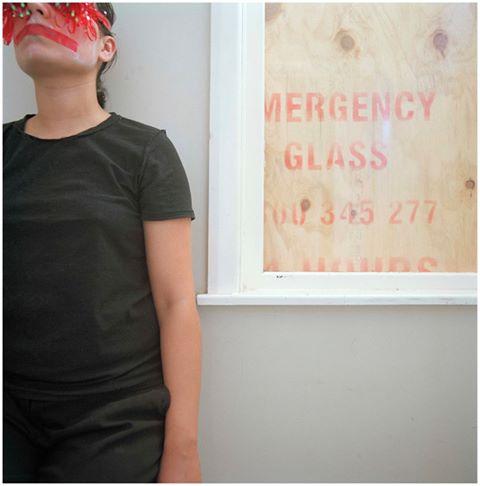 Red Tape (2014) by Anita Jacobsen, 500x500mm, C type print, framed.