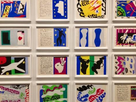 """Install view, """"Jazz"""" stencil works by Henri Matisse"""