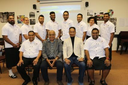 Fijian Students Association members with Professor Steven Ratuva and visiting speaker, Kaliopate Tavola